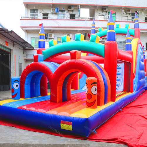 Retro Rainbow Inflatable Obstacle Course
