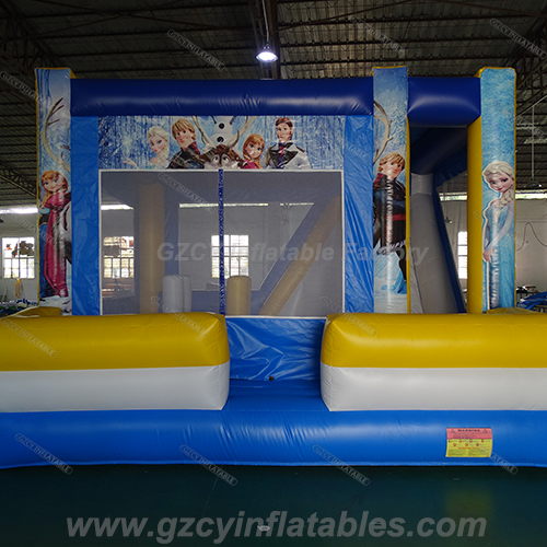 Frozen inflatable bouncer castle with slide