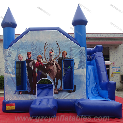 Frozen inflatable jump bouncer with slide