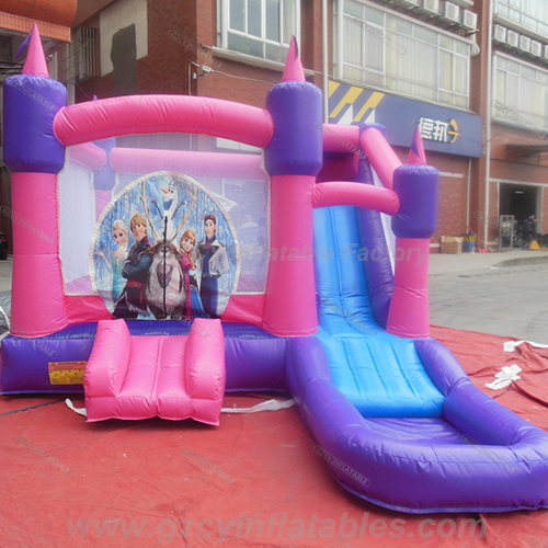 Frozen inflatable bouncer castle with water slide