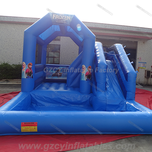 Frozen inflatable bouncer house with water slide