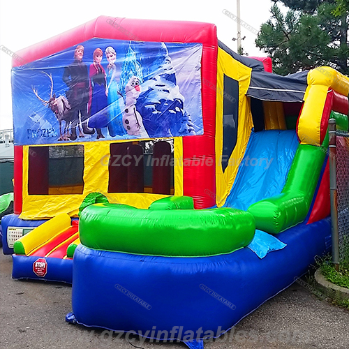 Frozen inflatable bouncer house with slide